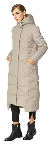 Orolay Women's Puffer Down Coat Winter Maxi Jacket with Hood Beige XS by Orolay (Image #2)