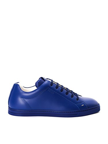 FENDI MEN'S 7E10088GMF08K3 BLUE LEATHER SNEAKERS (Fendi Mens Sneakers)