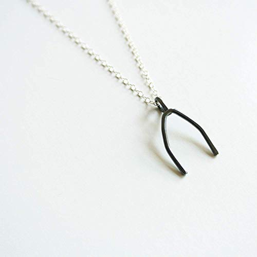 (Wishbone Sterling Silver Necklace - 18 inches long chain - 3/4