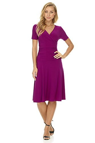 Rekucci Womens Slimming Short Sleeve Fit-N-Flare Crossover Tummy Control Dress