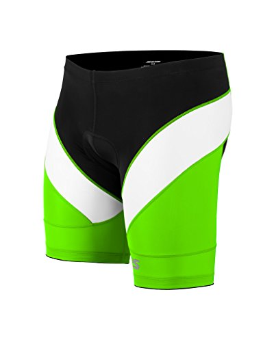 Triathlon Men`s Tri Shorts - 1 Pocket - Comfortable Pad - SLS3 - NEW 2017 Design - Lime - Tri Short