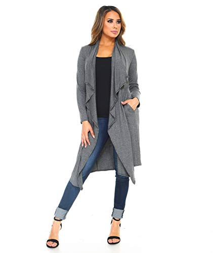 Isaac Liev Women's Open Front Drape Draped Front Lightweight Long Cardigan with Side Pockets (X-Large, Charcoal) ()