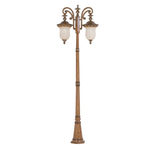 Livex Lighting 8499-57 Outdoor Post with Vintage Carved Scavo Glass Shades, Venetian Patina