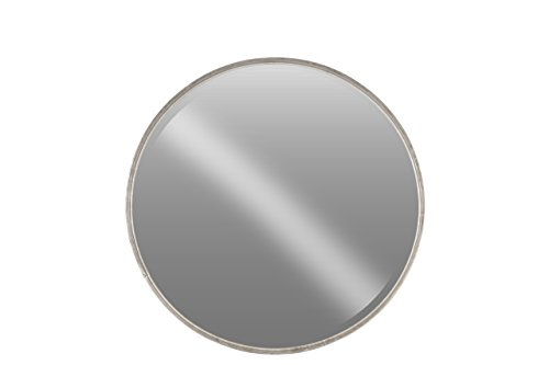 Urban Trends Metal Round Wall Mirror in Tarnished Finish, Large, Antique - Silver Mirror Round