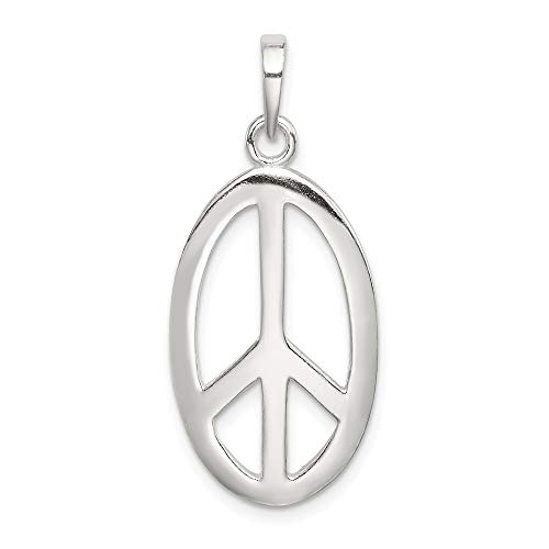 Mia Diamonds 925 Sterling Silver Solid Polished Oval Peace Sign Pendant (33mm x 15mm)
