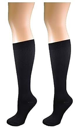 Ladies 2 Pair Pack Compression Socks Black