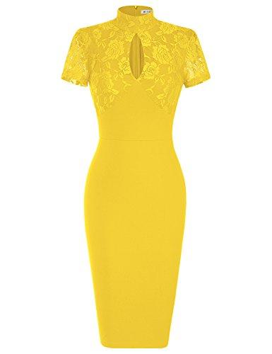 MUXXN Women's 1940's Vintage Floral Lace Keyhole Bodycon Hot Pencil Dress(S,Yellow)