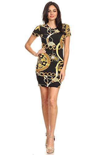 Print Chain Dress - Floral Print Casual Short Sleeve Bodycon Fit Mini Dress/Made in USA Chain Black XL
