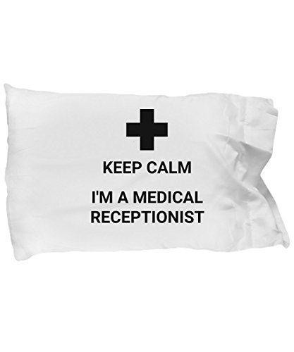 Funny Medical Receptionist Pillow Case Bedding Gift for Bed Keep Calm I am a Med Microfiber Cover I'm Trust Me Please by Angitu Design