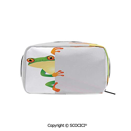 Rectangle Organizer Toiletry Makeup Bags Pouch Funky Frog Prince with Big Eyes on the Wall Camouflage Nursery Reptiles Decor Portable Makeup Brushes Bag