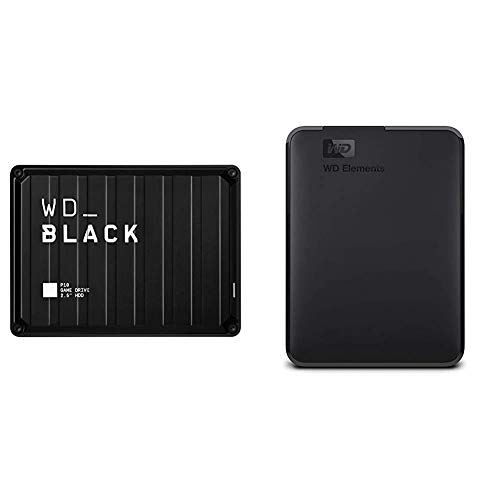 WD_Black 5TB P10 Game Drive, Portable External Hard Drive Compatible with Playstation, Xbox, PC, Mac - WDBA3A0050BBK-WESN & 2TB WD Elements Portable External Hard Drive, USB 3.0 - WDBU6Y0020BBK-WESN