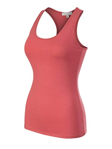 Design by Olivia Women's Casual Essential Solid Sleeveless Racerback Basic Tank Top Dusty Rose S