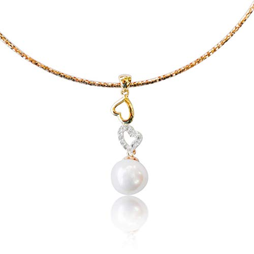 10K Yellow Gold Single Omega Choker Necklace Handmade with Stunning White Freshwater Pearl Linked Hearts CZ Diamond Pendant, Simple and Beautiful Drop Necklace, 15 Inch Chain with Lobster ()