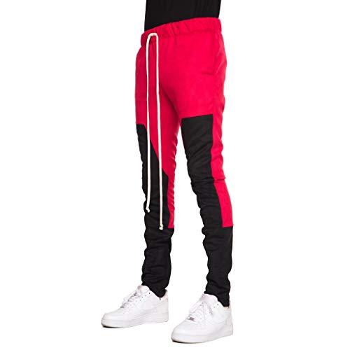 EPTM New Men's Zipper Poly Suede Color Block Techno Track Pants (L, Red/Black) ()