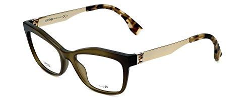 Fendi Designer Eyeglasses FF0050-MOK in Green Gold 53mm Demo Lens
