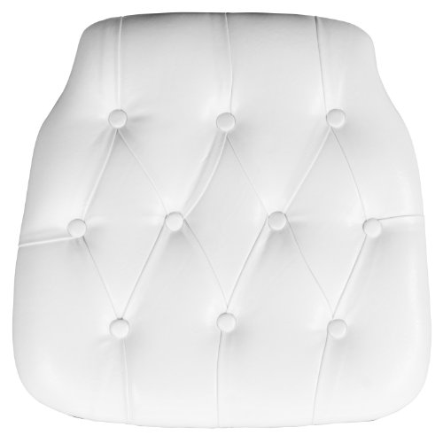Flash Furniture Hard White Tufted Vinyl Chiavari Chair Cushion