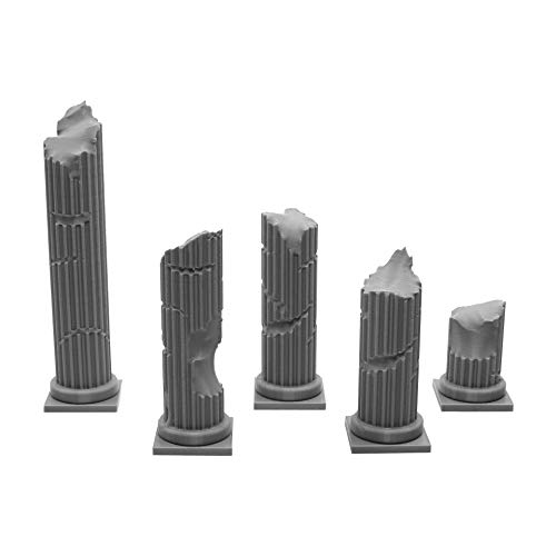 (EnderToys Roman Ruined Pillars, Terrain Scenery for Tabletop 28mm Miniatures Wargame, 3D Printed and Paintable)