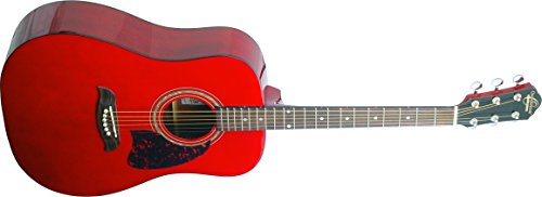 Oscar Schmidt OG2TR-A-U Acoustic Guitar - Trans Red by Oscar Schmidt
