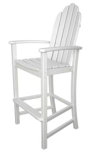 Poly Outdoor Furniture - POLYWOOD Adirondack Bar Height Chair, White