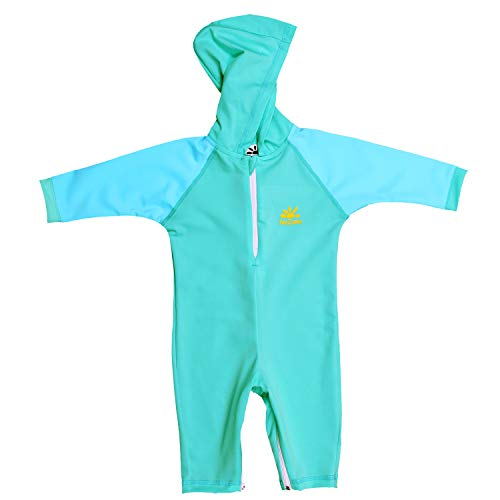 Nozone Kailua Sun Protective Hooded Baby Swimsuit in Aquatic/Aqua, 18-24 mo. (Protective Baby Suit)