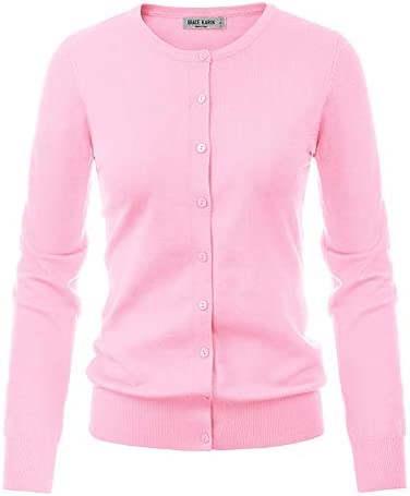 GRACE KARIN Women's Long Sleeve Button Down Crew Neck Classic Sweater Knit Cardigan