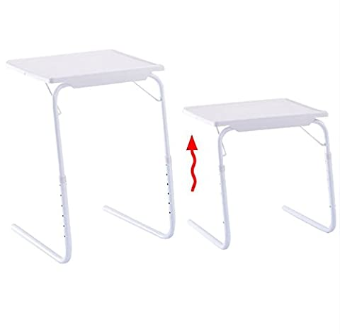 Quality Tables - Table Adjustable for PC TV - Set of 2 Laptop Desk Tray Home Office - With Side Cup Holder - White Table Mate