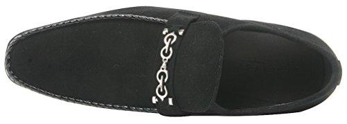 (Zota Men's Suede Slip On Dress Loafer, Black, 7 M US)