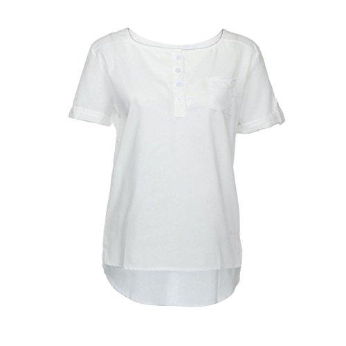 DondPO Loose Tops Sweaters Tunics Soft & Lightweight Casual Basic Blouse Shirts Tees Top Cotton Linen Women Blouse T-Shirts (White, XXXL) (Linen Weight)