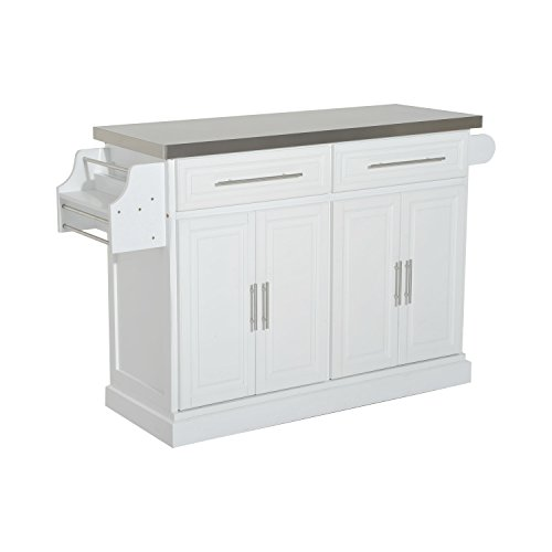 HomCom Modern Rolling Kitchen Island Storage Cart w/ Stainless Steel Top - White