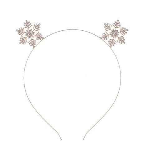 VOGUEKNOCK Snowflake Headband Christmas Children Headband Crystal Sparkle Ear Hairloop (gold) ()