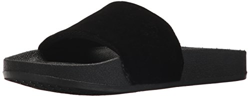 Chooka Women's Slide Sandal with molded footbed and Plush Velvet upper, Velvet Black, 9 M US