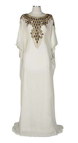 Covered Bliss Aceil Kaftan For Women-Long Sleeve Maxi Dress, Gown Formal Lounge Wear (Ivory) (Couture Jersey Gown)