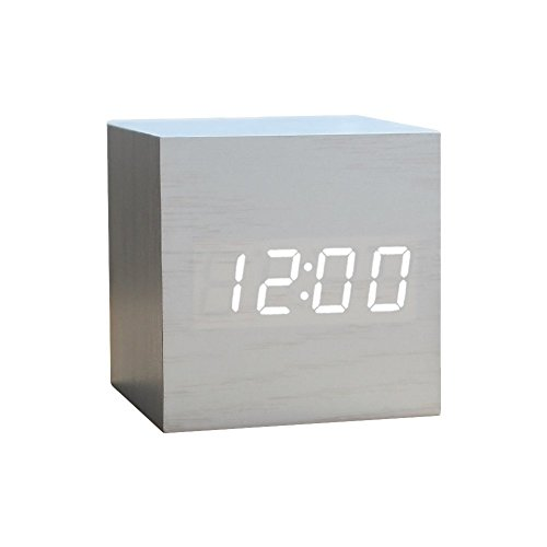 Wood Alarm Clock Digital LED Light Minimalist Mini Cube with Date and Temperature for Travel Kids Bedroom-White - Wood Mini Clock