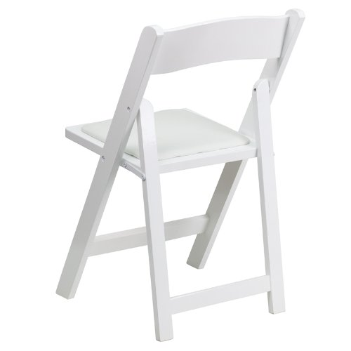 Flash Furniture 4 Pk. HERCULES Series White Wood Folding Chair with Vinyl Padded Seat by Flash Furniture (Image #3)