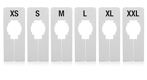 Mark Bric 5-S-XXL551W Rectangular Rack Divider, Includes 6 Sizes, White with Black Print (Pack of 200)