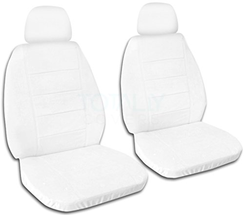 Solid Color Car Seat Covers w 2 Separate Headrest Covers: White - Semi-Custom Fit - Front - Will Make Fit Any Car/Truck/Van/SUV (22 Colors)