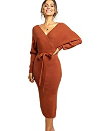 EVERICH Women's Autumn Dresses Sexy V Neck Batwing Long Sleeve Wrap Dress with Belt