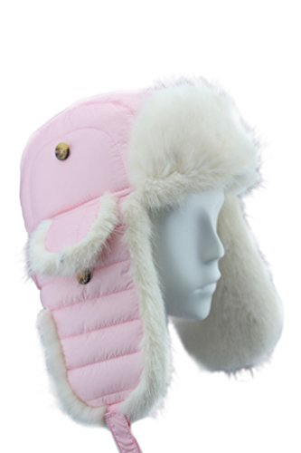 FUR WINTER Taffeta Faux Fur Aviator Bomber Trapper Hat PNK M/L