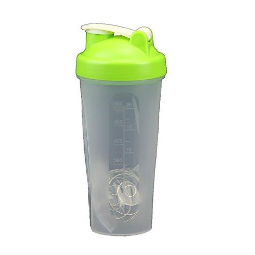 HeroNeo® 600ML Smart Shake Gym Protein Shaker Mixer Cup Blender Bottle Drink Wit Stainless Whisk Blending Ball (Green)