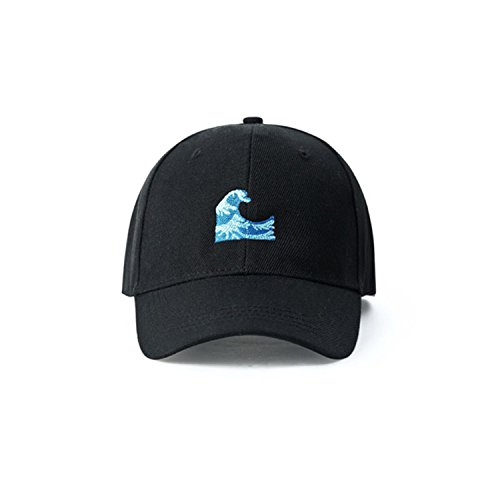 LR Harajuku Black Couple Wave Embroidery Baseball Cap Breathable Sunscreen - Cancer Council Shop The