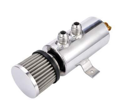 Silver Anngo 0.75L Aluminum Baffled Oil Catch Can Breather Can Drain Valve W//Filter 2 Ports 10AN Oil Coolant Fuel Overflow Tank