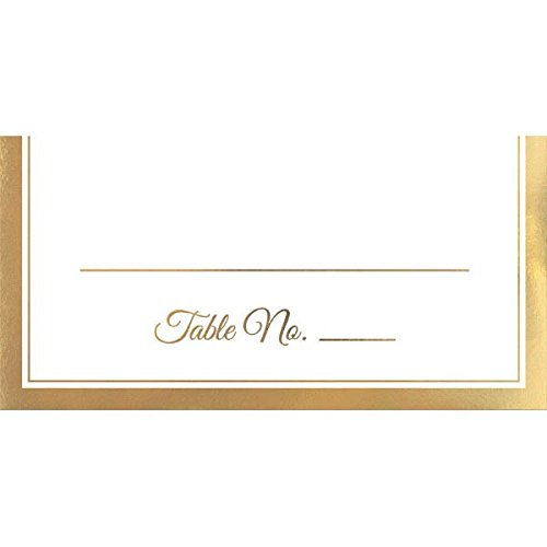 Amscan Durable Party Friendly Place Card with Gold Trim Tableware, 50 Pieces, Made from Paper, Kid/Adult Party, 4