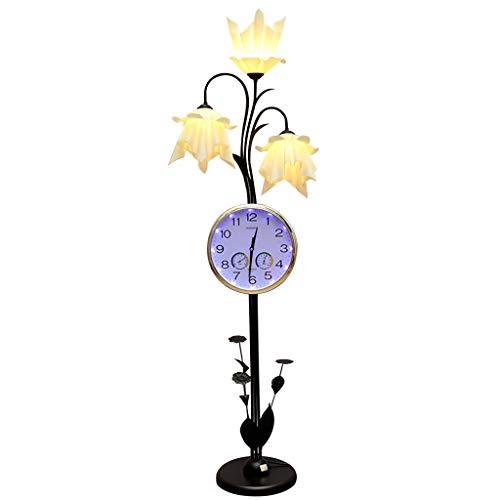 European Iron Floor Lamp | Retro Floor Lamp with Clock | for Living Room Bedroom Study Room 154CM (Color : Black)