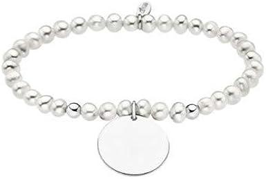 Lotus Silver Pulsera Perlas y Medalla para Personalizar LP1953-2/1