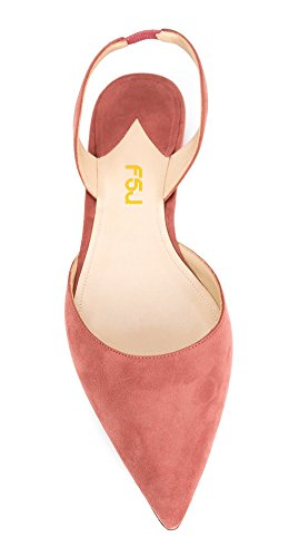 Toe Suede D'orsay Flats Slingback Casual Shoes Dress Pointed Size Pink 4 15 Women Pumps for FSJ 0nqXw