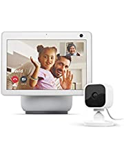 $259 » All-new Echo Show 10 (3rd Gen)   Glacier White with Blink Mini Indoor Smart Security Camera, 1080 HD with Motion Detection