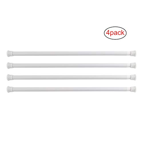 KAMSPARK Spring Tension Rods/Tension Bars Extendable for Cupboards Closets Refrigerator Cabinets 15 to 28 Inches, 4 Packs, White