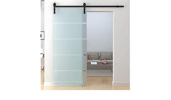 Herraje para Puerta Corredera Kit Riel colgante de silencio de puerta de vidrio de 5ft-16.4ft - Kit completo de hardware, riel de puerta corrediza de riel Polea Para inodoro / cocina /