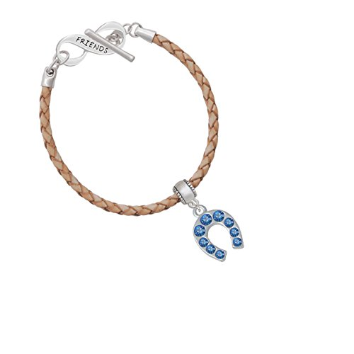 Blue Crystal Horseshoe Friends Infinity Toggle Leather Bracelet