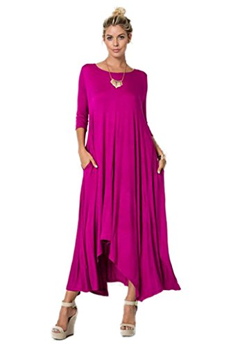 Great Deals 4 U Now Womens Long Loose Casual Asymmetrical Oversize Handkerchief Hem Jersey Maxi Dress (Made In The USA)